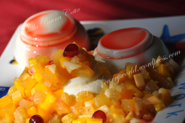 Vanilla Panna Cotta with Fruit Salad