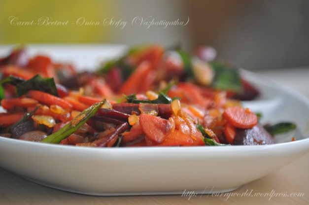 Carrot-Beetroot-Onion Stirfry