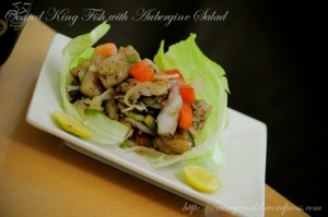 seared kingfish with aubergine salad