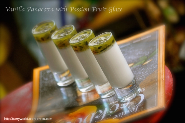 Vanilla Panna Cotta with passion  Fruit Glaze
